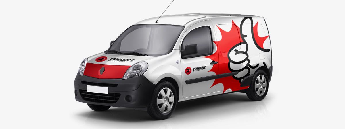 Rotulación de vehículo comercial para erredoble diseño gráfico